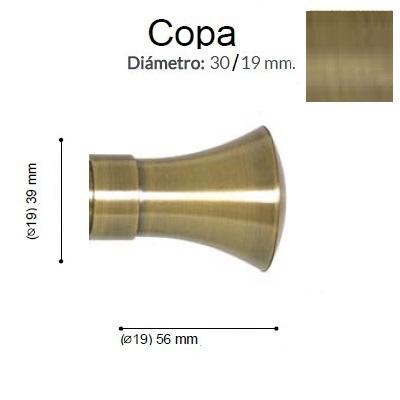 BARRA CORTINA VARADERO COPA CUERO MATE de ALTRAN Sin Anillas Cuero Mate Diámetro 19/19 mm Medida Barra 400