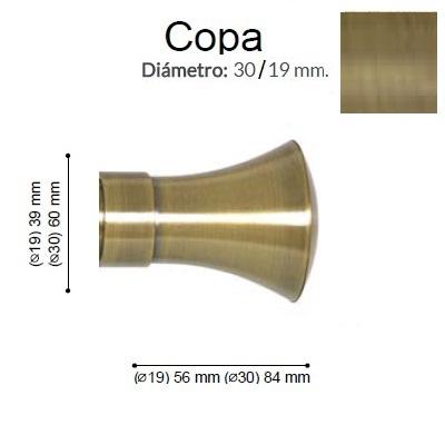 BARRA CORTINA VARADERO COPA CUERO MATE de ALTRAN Sin Anillas Cuero Mate Diámetro 30/19 mm Medida Barra 400