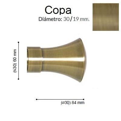 BARRA CORTINA VARADERO COPA CUERO MATE de ALTRAN Sin Anillas Cuero Mate Díámetro 30 mm Medida Barra 400