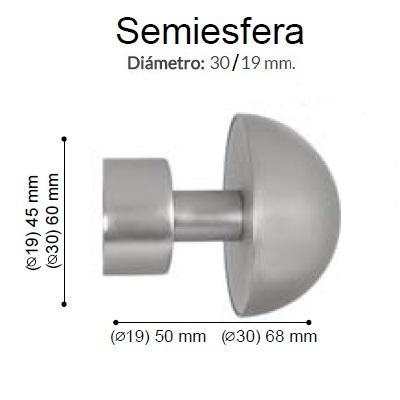 BARRA CORTINA VARADERO SEMIESFERA PLATA MATE de ALTRAN Sin Anillas Plata Mate Diámetro 30/19 mm Medida Barra 400