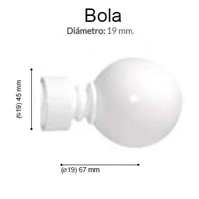 BARRA CORTINA VARADERO BOLA BLANCO de ALTRAN Anillas Planas Blanco Diámetro 19/19 mm Medida Barra 400