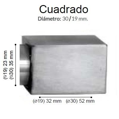BARRA CORTINA VARADERO CUADRADO ACERO de ALTRAN Anillas Planas Acero Diámetro 30/19 mm Medida Barra 400
