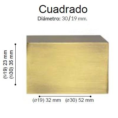 BARRA CORTINA VARADERO CUADRADO CUERO de ALTRAN Anillas Planas Cuero Diámetro 30/19 mm Medida Barra 400