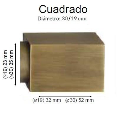 BARRA CORTINA VARADERO CUADRADO CUERO MATE de ALTRAN Anillas Planas Cuero Mate Diámetro 30/19 mm Medida Barra 400