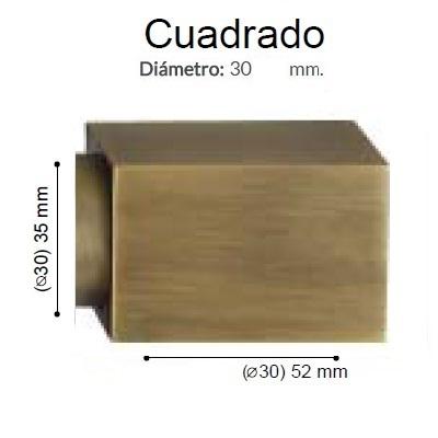 BARRA CORTINA VARADERO CUADRADO CUERO MATE de ALTRAN Anillas Planas Cuero Mate Díámetro 30 mm Medida Barra 400