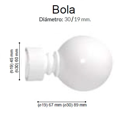 BARRA CORTINA VARADERO BOLA BLANCO de ALTRAN Anillas Planas Blanco Diámetro 30/19 mm Medida Barra 400