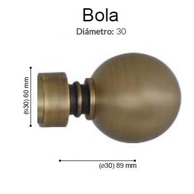 BARRA CORTINA VARADERO BOLA CUERO MATE de ALTRAN Sin Anillas Cuero Mate Díámetro 30 mm Medida Barra 400