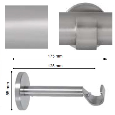 SOPORTE VARADERO EXTENSIBLE PARED de ALTRAN Plata Mate Diámetro 19 mm