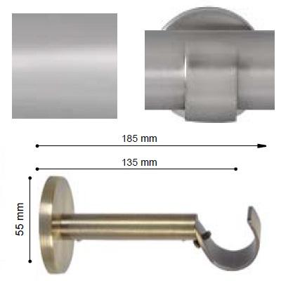SOPORTE VARADERO EXTENSIBLE PARED de ALTRAN Plata Mate Díámetro 30 mm
