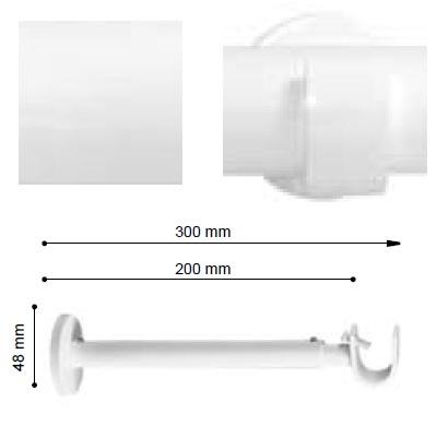 SOPORTE VARADERO EXTENSIBLE PARED EXTRA de ALTRAN Blanco Diámetro 19 mm