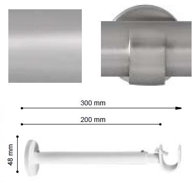 SOPORTE VARADERO EXTENSIBLE PARED EXTRA de ALTRAN Plata Mate Diámetro 19 mm