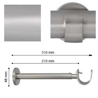 SOPORTE VARADERO EXTENSIBLE PARED EXTRA de ALTRAN Plata Mate Díámetro 30 mm