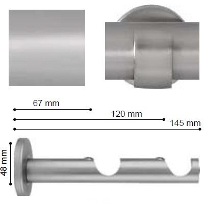 SOPORTE VARADERO PARED DOBLE de ALTRAN Plata Mate Diámetro 19/19 mm