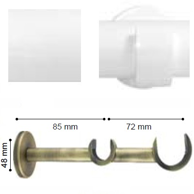 SOPORTE VARADERO PARED DOBLE de ALTRAN Blanco Diámetro 30/19 mm