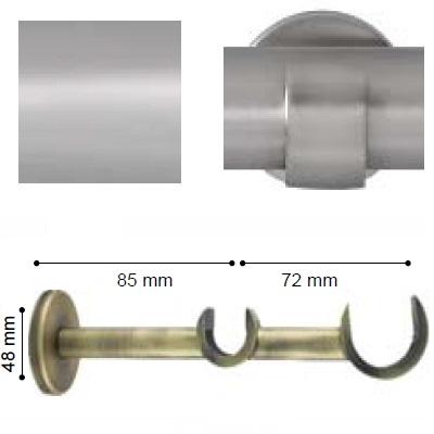 SOPORTE VARADERO PARED DOBLE de ALTRAN Plata Mate Diámetro 30/19 mm