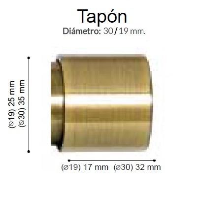 BARRA CORTINA VARADERO TAPON CUERO de ALTRAN Anillas Planas Cuero Diámetro 30/19 mm Medida Barra 400