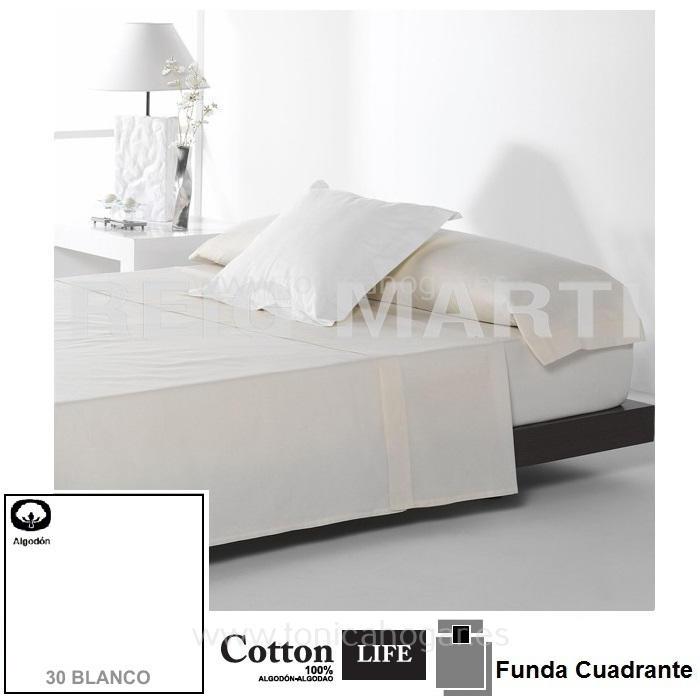 Fundas Almohadas y Cuadrantes Cottonlife Reig Marti Cotton Life 30 Blanco Funda Cojín Pestaña 50x50+5