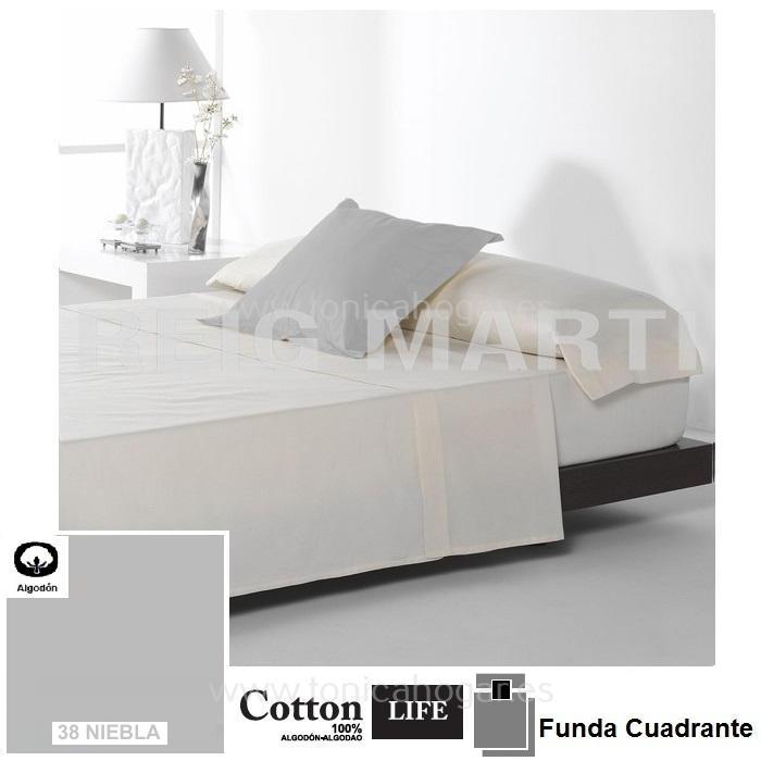 Fundas Almohadas y Cuadrantes Cottonlife Reig Marti Cotton Life 38 Niebla Funda Cojín Pestaña 50x50+5