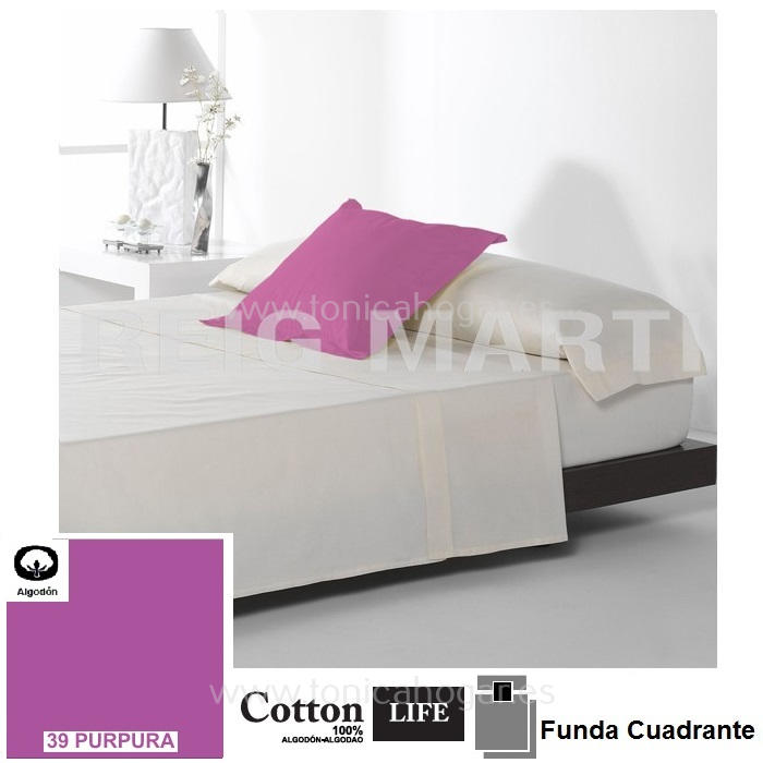 Fundas Almohadas y Cuadrantes Cottonlife Reig Marti Cotton Life 39 Purpura Funda Cojín Pestaña 50x50+5