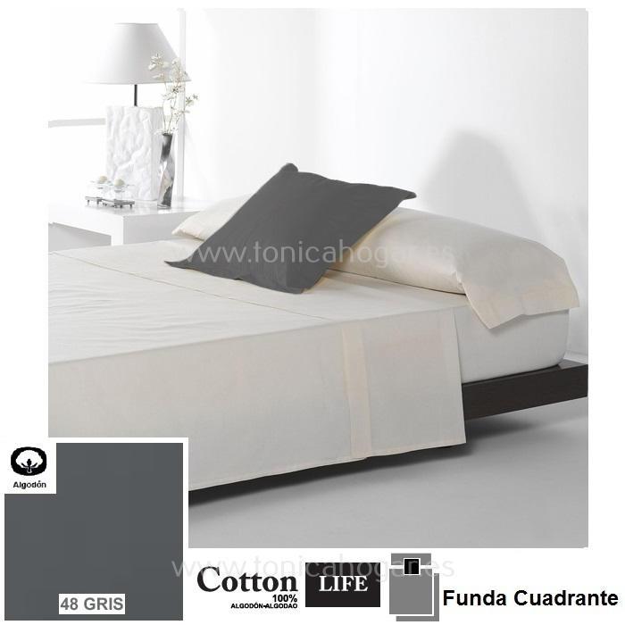 Fundas Almohadas y Cuadrantes Cottonlife Reig Marti Cotton Life 48 Gris Funda Cojín Pestaña 50x50+5