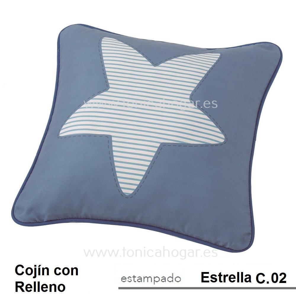 Cojín Infantil ESTRELLA de SCENES. Azul Cojín 45x45