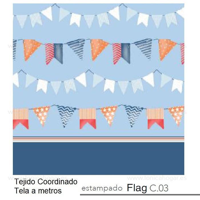 Tejido FLAG MT Azul de Reig Marti. Celeste Tela Alto 280