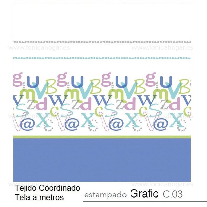 Tejido GRAFIC MT Azul de Reig Marti Azul Tela Alto 280