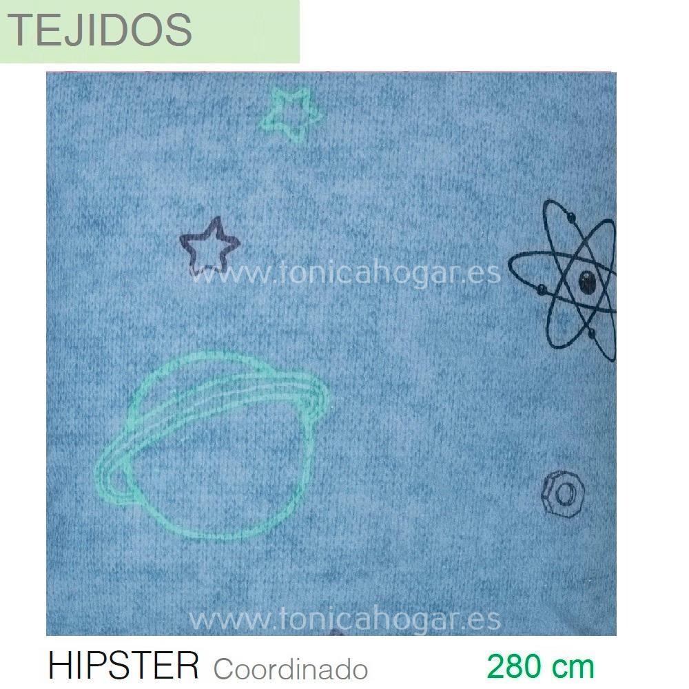 Tejido estampado digital HIPSTER coordinado de SANSA Azul Tela Alto 280