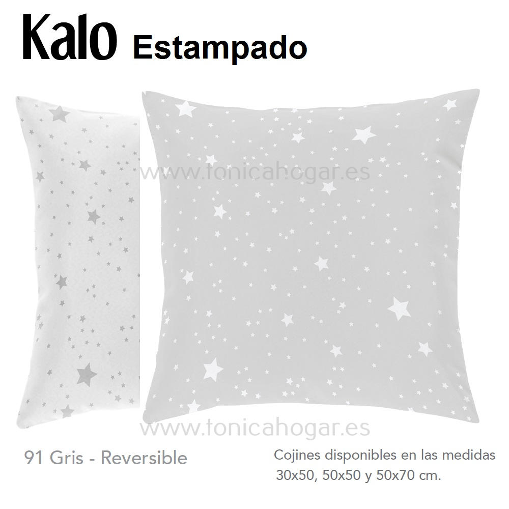 Cojín estampado KALO GRIS de CAÑETE Perla Cojín 30x50 Perla Cojín 50x50 Perla Cojín 50x70