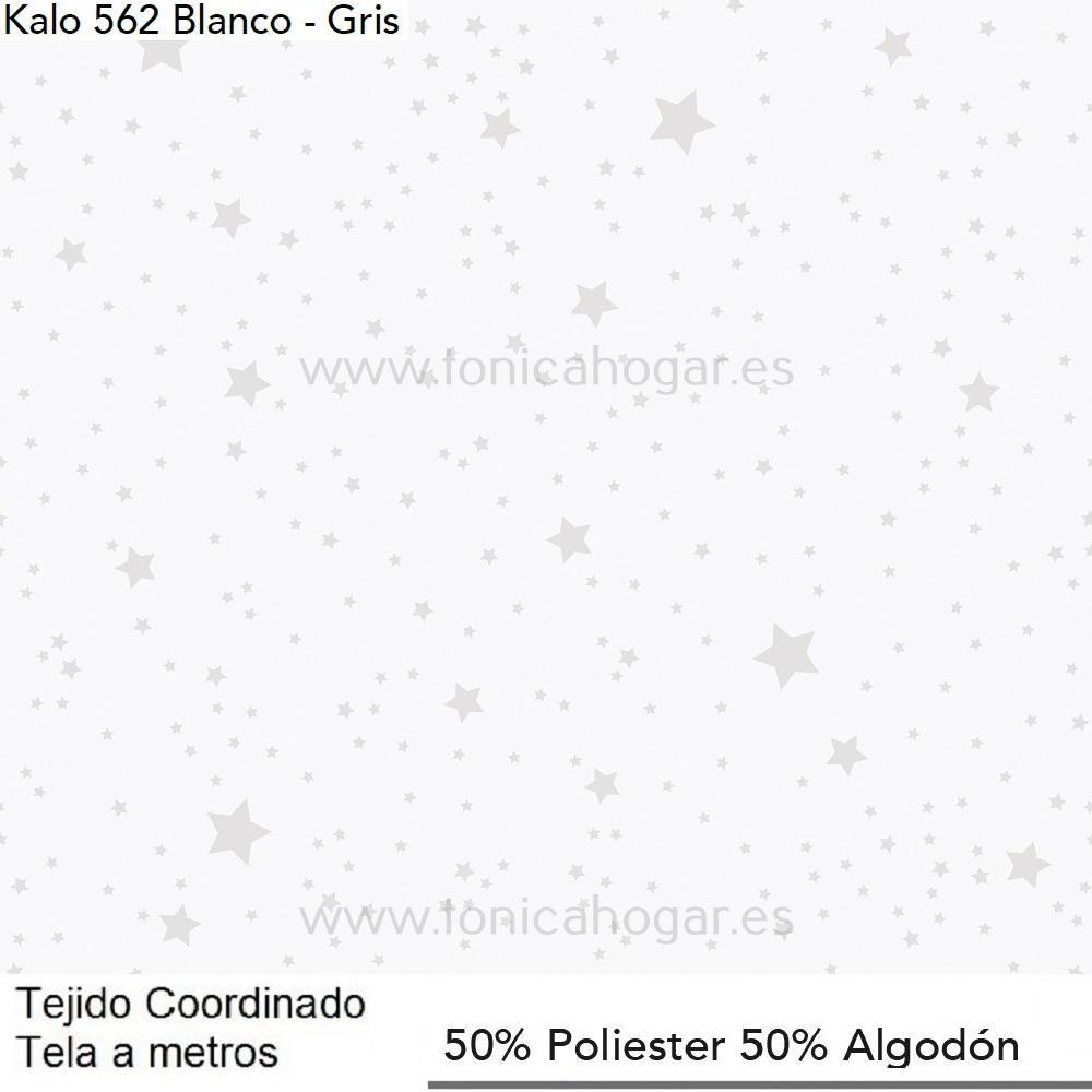 Tejido estampado Infantil KALO BLANCO GRIS de CAÑETE Blanco Tela Alto 280