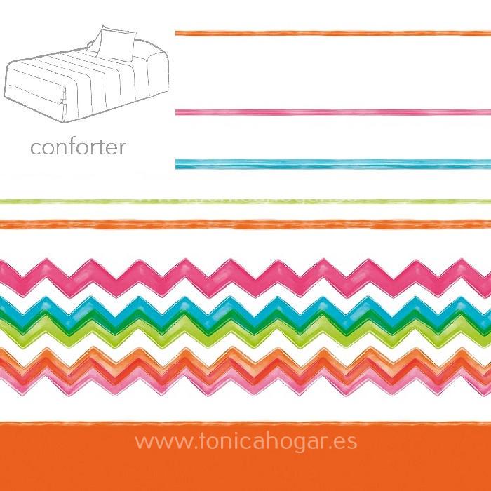 Edredón Conforter LUCCA 02 Turquesa de Reig Marti Naranja 090 Naranja 105 Naranja 135