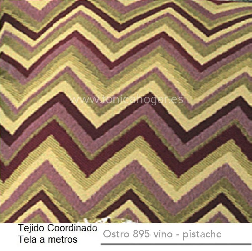 Tejido Jacuard OSTRO A Vino-Pistacho de CAÑETE Burdeos Tela Alto 280