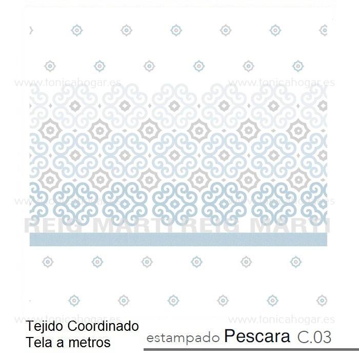 Tejido PESCARA MT Azul de Reig Marti Celeste Tela Alto 280