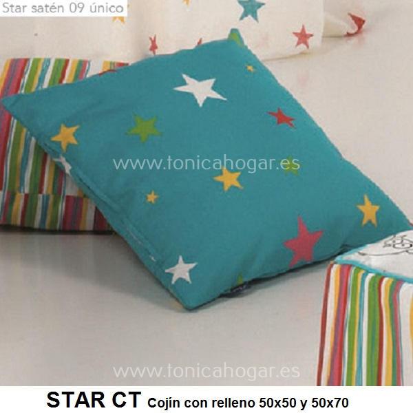 Cojín Infantil STAR de CAÑETE Turquesa Cojín 30x50 Turquesa Cojín 50x50 Turquesa Cojín 50x70