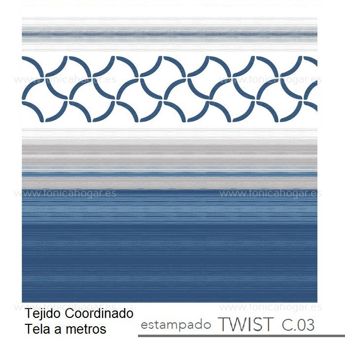 Tejido TWIST MT Azul de Reig Marti Azulón Tela Alto 280