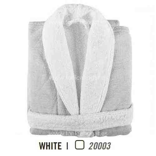 Albornoz de Baño LINEN DUO AB de Graccioza White Talla S White Talla M White Talla L