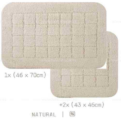 Alfombra Baño VIENA AM de Sorema Natural Set Alf Baño 1x(46x70) 2x(43x46)