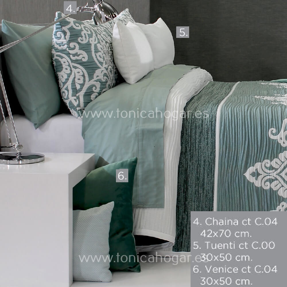 Cojines coordinados Colcha CHAINA C.04 Verde de Reig Marti