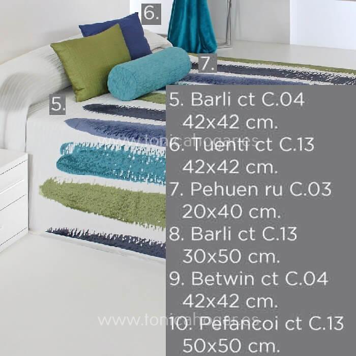 Cojines coordinados Colcha CHANDLER C.03 Azul de Reig Marti
