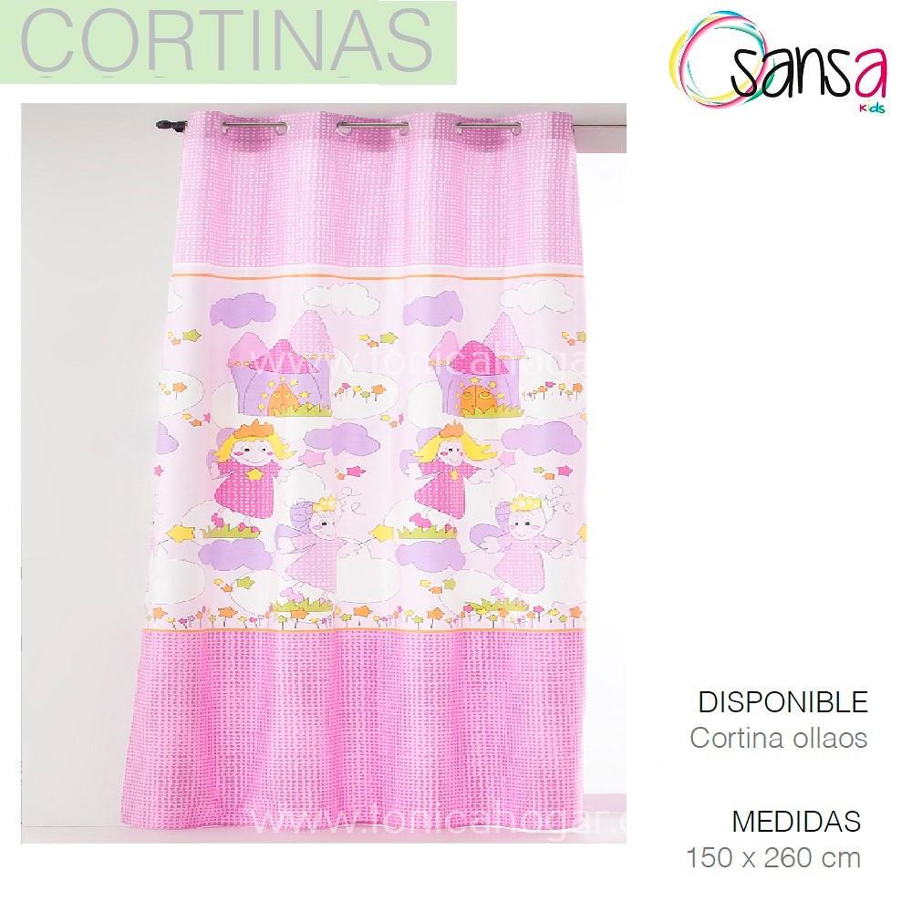 Cortina Confeccionada Princesas color Rosa de SANSA.