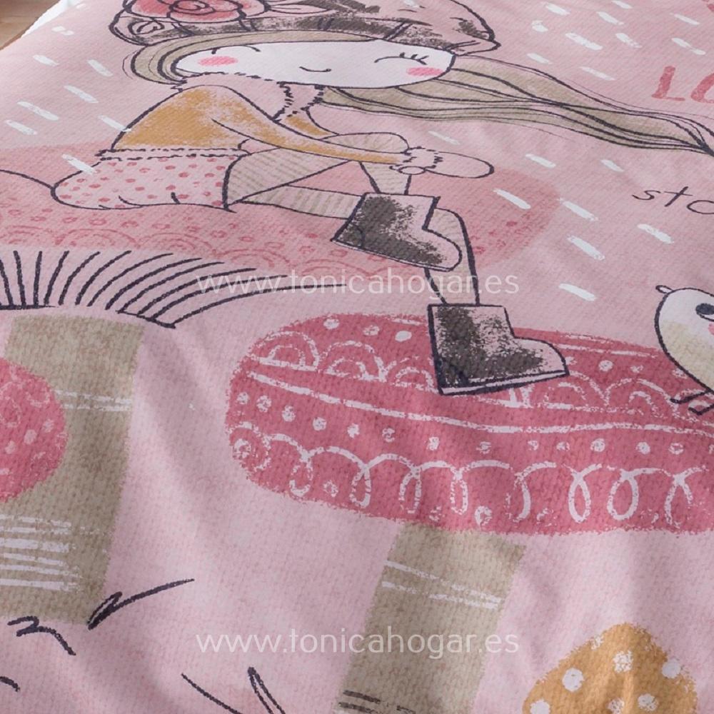 Detalle Duo Sabanas LOVELY Rosa de SANSA Ilustrando Sueños de Confecciones Paula