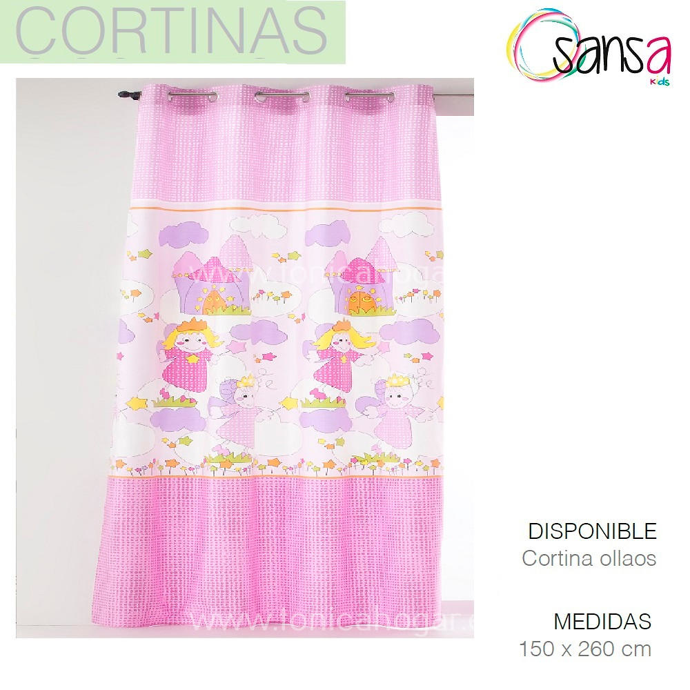 Cortina Confeccionada Princesas color Rosa de SANSA.
