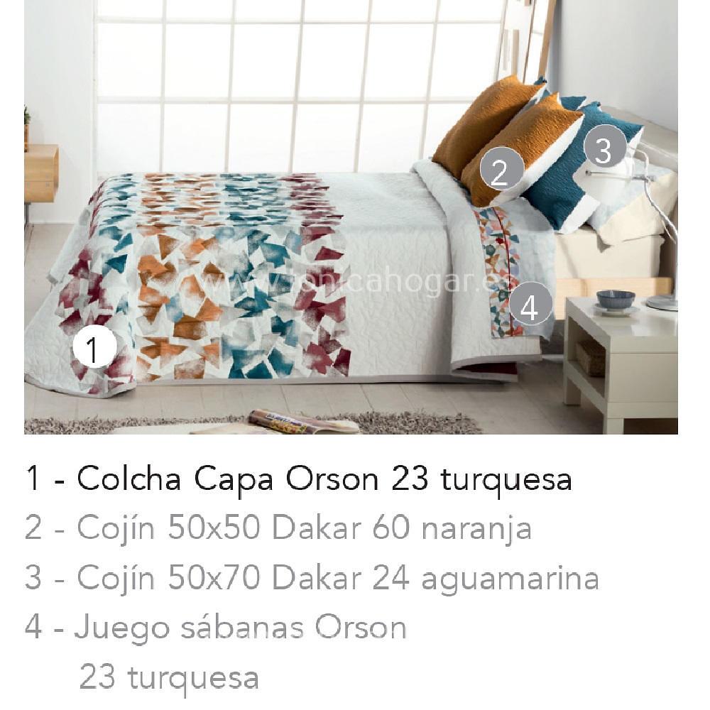 Artículos coordinados Juego Sabanas ORSON Turquesa de Cañete