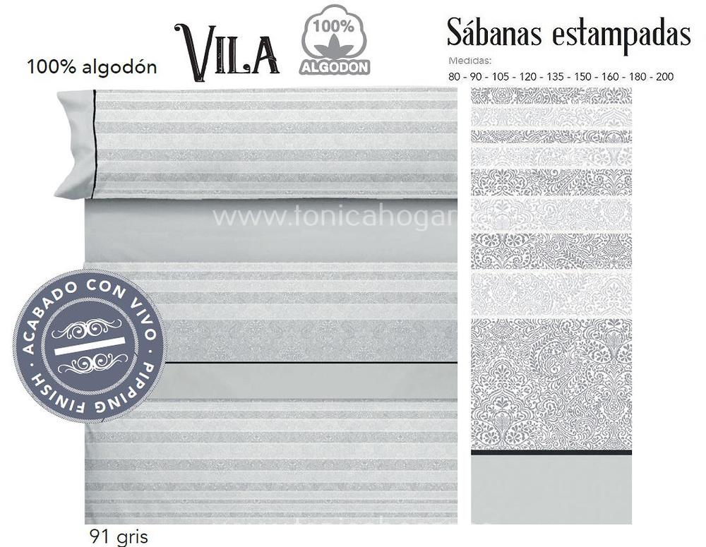 Comprar Juego Sabanas VILA Gris de Cañete online