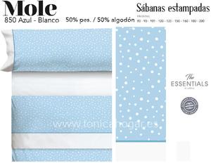 Juego Sábanas MOLE Azul-Blanco de Cañete
