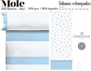 Juego Sábanas MOLE Blanco-Azul de Cañete