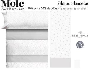 Juego Sábanas MOLE Blanco-Gris de Cañete