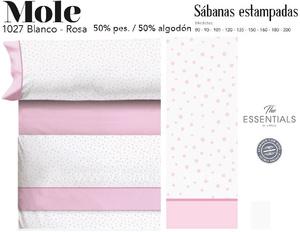 Juego Sábanas MOLE Blanco-Rosa de Cañete