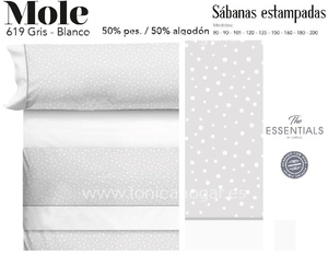 Juego Sábanas MOLE Gris-Blanco de Cañete