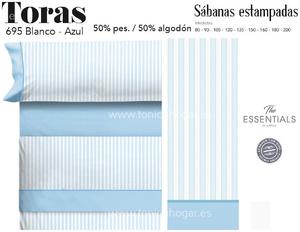 Juego Sábanas TORAS Blanco-Azul de Cañete